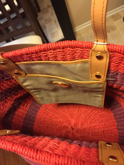 Tory Burch Red and purple Stripe with tan leather handle Beach Bag