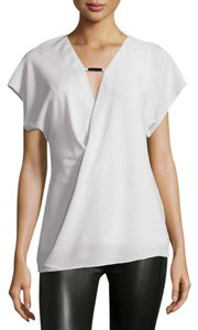 Halston Ivory White Silk Top Dark Bone