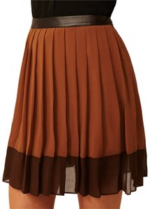 W118 by Walter Baker Color-blocking Two-tone Skirt Taupe/Brown