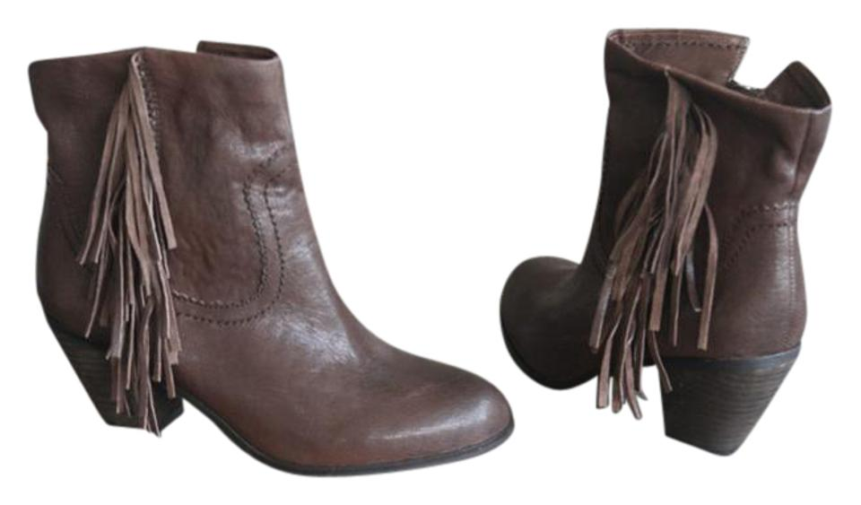 bcb5dfb5fa0d5 Sam Edelman Brown New -  louie  Fringe Western Boots Booties Size US ...