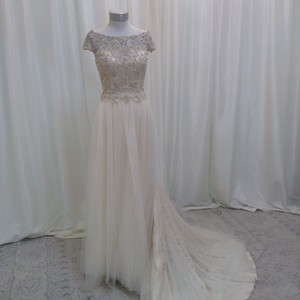 Casablanca Champagne/Ivory/Silver Tulle Charmeuse & 2213 Traditional Wedding Dress Size 8 (M)