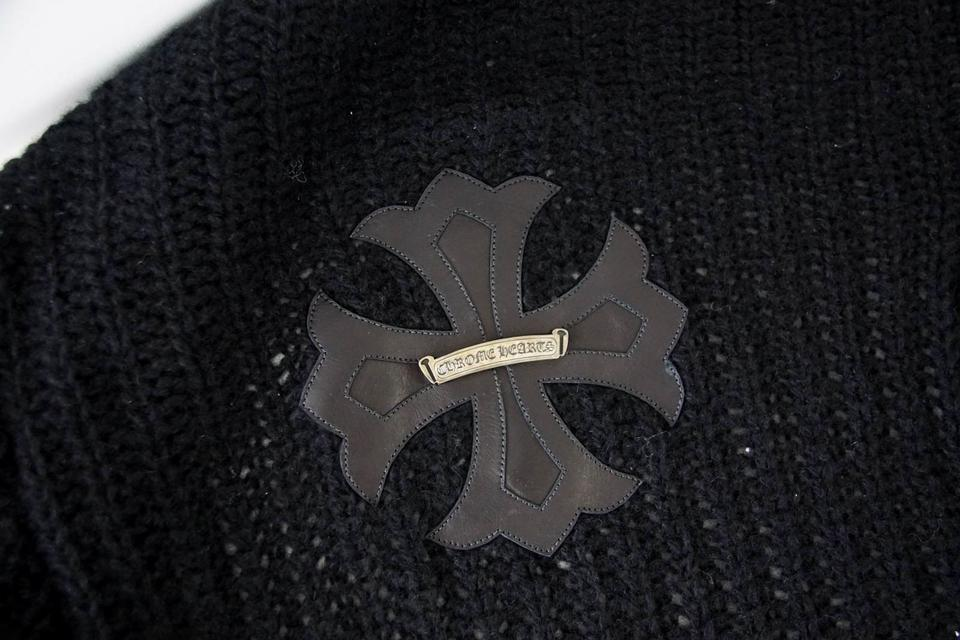 97bcbfa129a9 Chrome Hearts Black Sweater Cashmere Silk Leather Cross Sterling ...