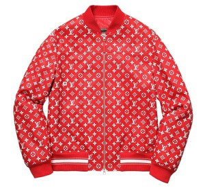 Louis Vuitton x Supreme Unisex Leather Bomber Red / White Jacket