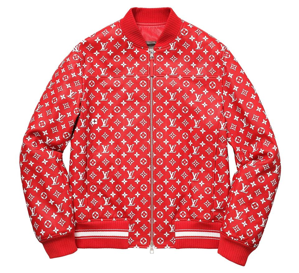 in stock 62042 af719 Louis Vuitton x Supreme Unisex Leather Bomber Red   White Jacket Image 0 ...