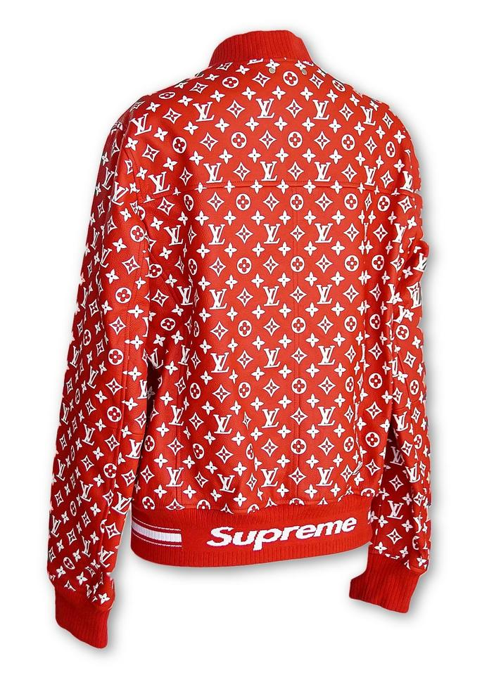 001d229b5 Louis Vuitton x Supreme Unisex Leather Bomber Red / White Jacket Image 6.  1234567