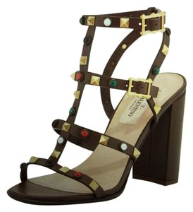 Valentino Studded Strappy Brown Sandals