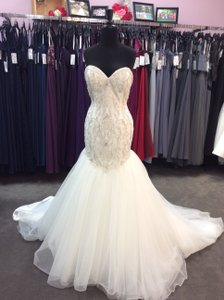 Alfred Angelo Ivory/Silver Satin/Beading Tulle 249 Ariel Modern Wedding Dress Size 10 (M)