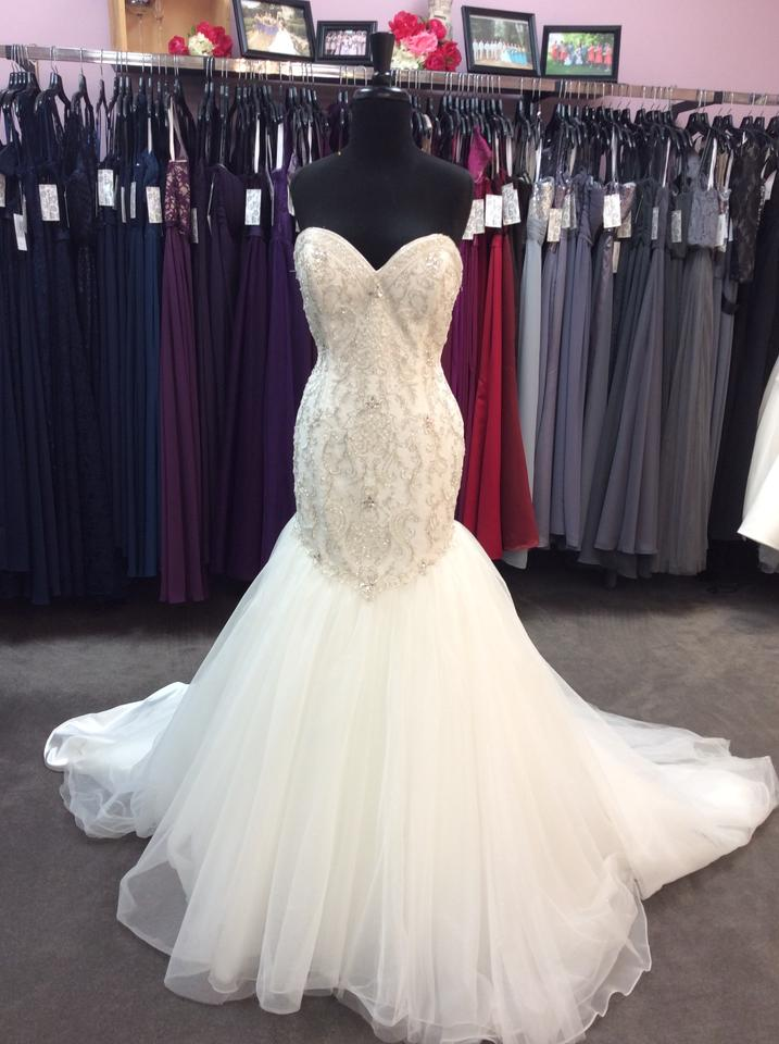 Alfred Angelo Ivory/Silver Satin/Beading Tulle 249 Ariel Modern ...