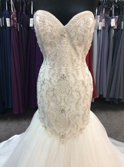 Alfred Angelo Ivory/Silver Satin/Beading Tulle 249 Ariel Modern Wedding Dress Size 10 (M) Image 1