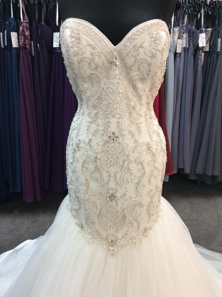 60d690df130 Alfred Angelo Ivory Silver Satin Beading Tulle 249 Ariel Modern ...