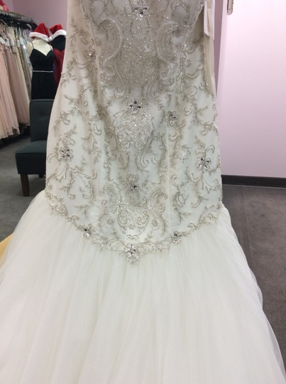 Alfred Angelo Ivory/Silver Satin/Beading Tulle 249 Ariel Modern Wedding Dress Size 10 (M) Image 11