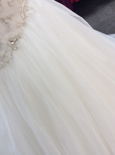Alfred Angelo Ivory/Silver Satin/Beading Tulle 249 Ariel Modern Wedding Dress Size 10 (M) Image 3