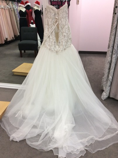 Alfred Angelo Ivory/Silver Satin/Beading Tulle 249 Ariel Modern Wedding Dress Size 10 (M) Image 6