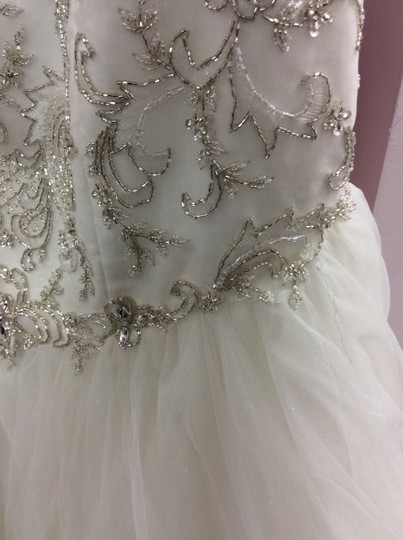 Alfred Angelo Ivory/Silver Satin/Beading Tulle 249 Ariel Modern Wedding Dress Size 10 (M) Image 8