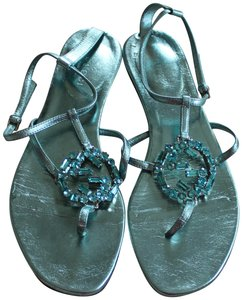 50c8cff67 Gucci Metallic Crystal Interlocking Gg Guccissima Ankle Strap Blue Sandals