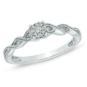 Zales Sterling Silver Diamond Cluster Twist Shank Engagement Ring
