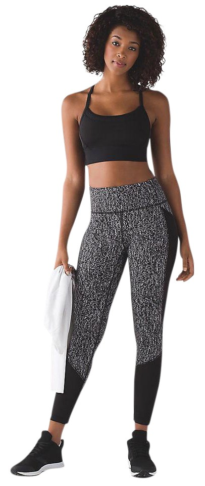 73908a7ce789 Lululemon Black and White High Rise Fit Physique Tights Activewear Bottoms