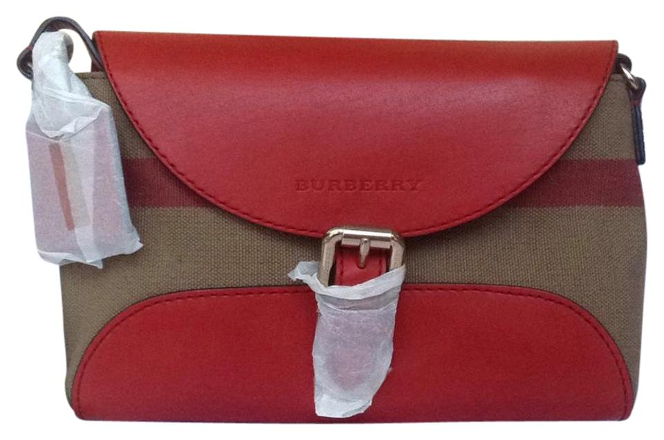 b390a162c Burberry Shoulder Small Henham Cadmium Red Leather and Canvas Check ...