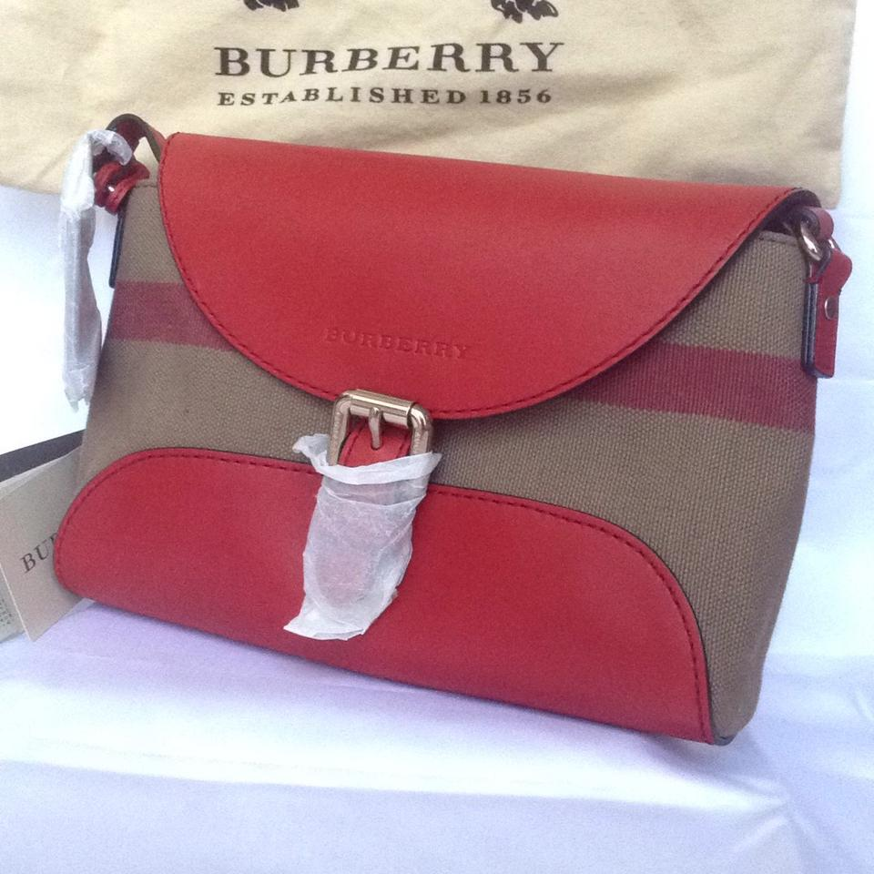 9105c65cd Burberry Shoulder Small Henham Cadmium Red Leather and Canvas Check  Primarily Leather Cross Body Bag - Tradesy