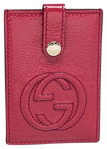 Gucci GUCCI Pink Patent Leather Soho Card Case
