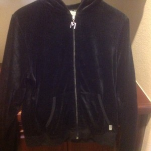 Max Studio Design Velour Front Zipper Long Sleeve Like New Sweatshirt
