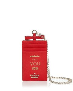 Kate Spade NEW Kate Spade saffiano leather Card Case employee I.D holder Lanyard
