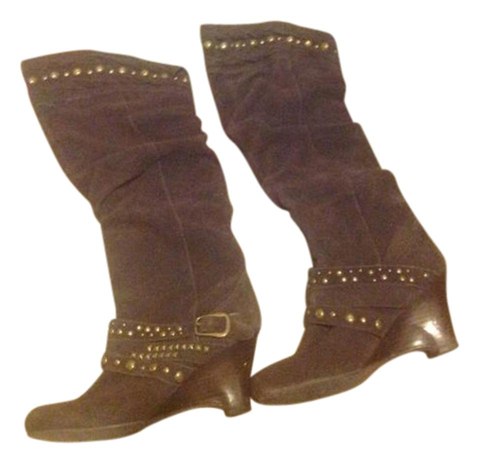 Naughty Monkey Brown Like Suede Knee High Nail Head Trimmed Like Brown New. Boots/Booties 5a5f81