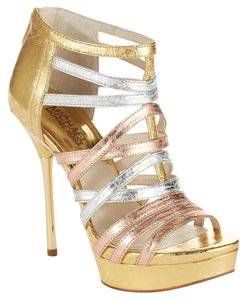 Michael Kors Mk Maddie Platform Heels Sandals Strappy Leather Snake Embossed Open Toe Ankle Metallic Zipped Designer Sale Deal Gold, Rose Gold, Silver Pumps