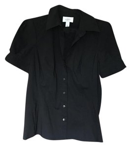 Ann Taylor LOFT Fitted Suit Career Short Sleeve Stretch Button Down Shirt Black