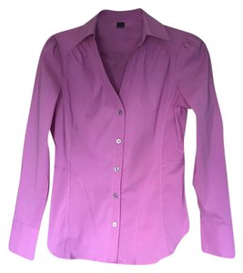 Express Stretchy Fitted Career Long Sleeve Suit Button Down Shirt Pink