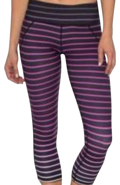 Item - Black and Pink Ombre Stripe Cropped Leggings Activewear Bottoms Size 4 (S, 27)