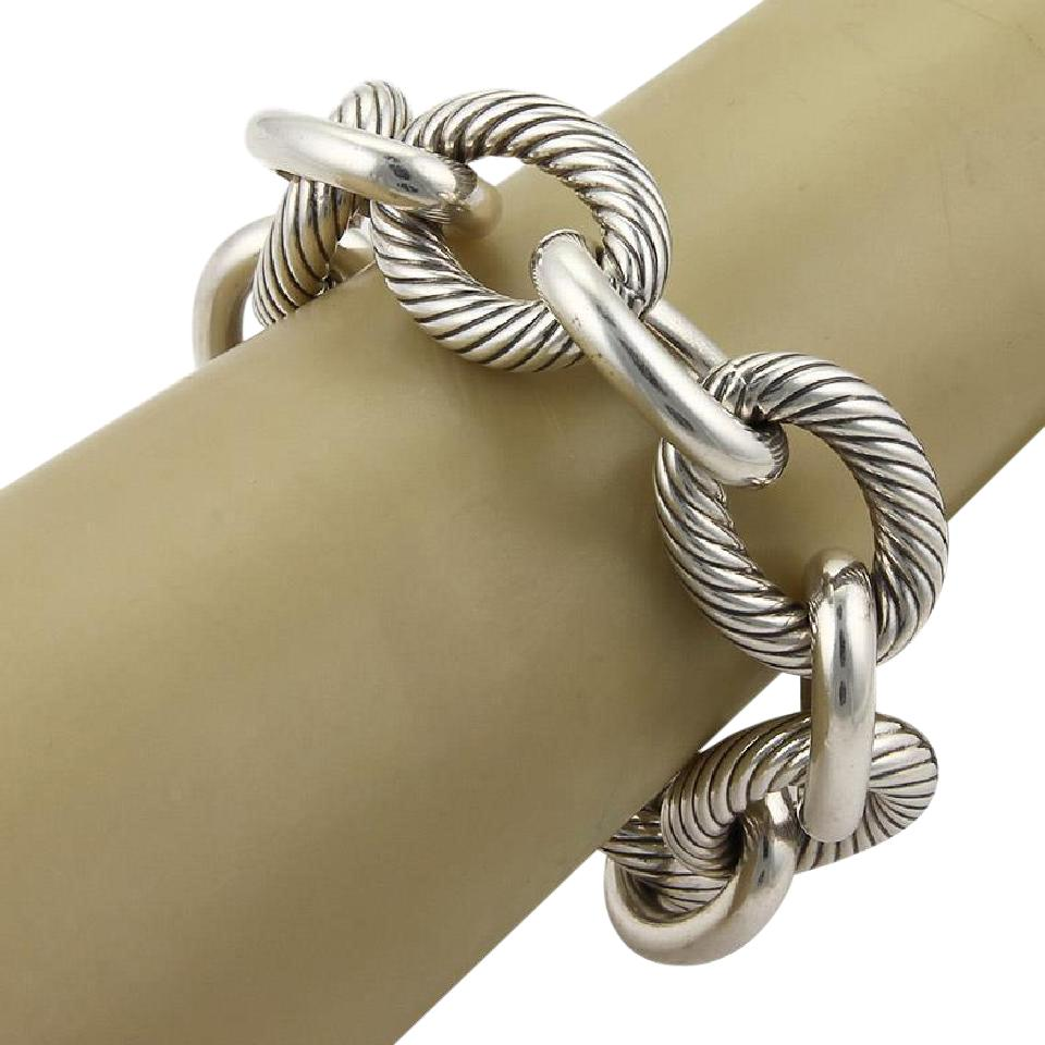 9e9654091f277 David Yurman Sterling Silver Extra Large Cable Wire Oval Link 8.5 Bracelet