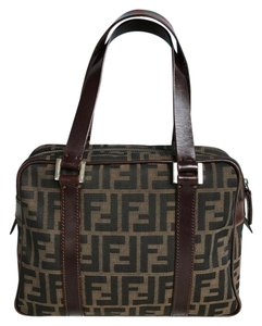 ee74c530320e Fendi Zucca Hand Leather Canvas Satchel in brown