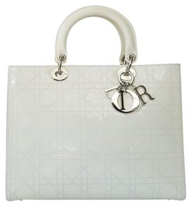 d27d8a088719 Dior Lady Dior Large Purse Off White Patent Leather Tote - Tradesy