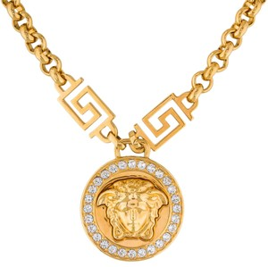 Versace Gold Medusa Head Crystal Chain Necklace w Box