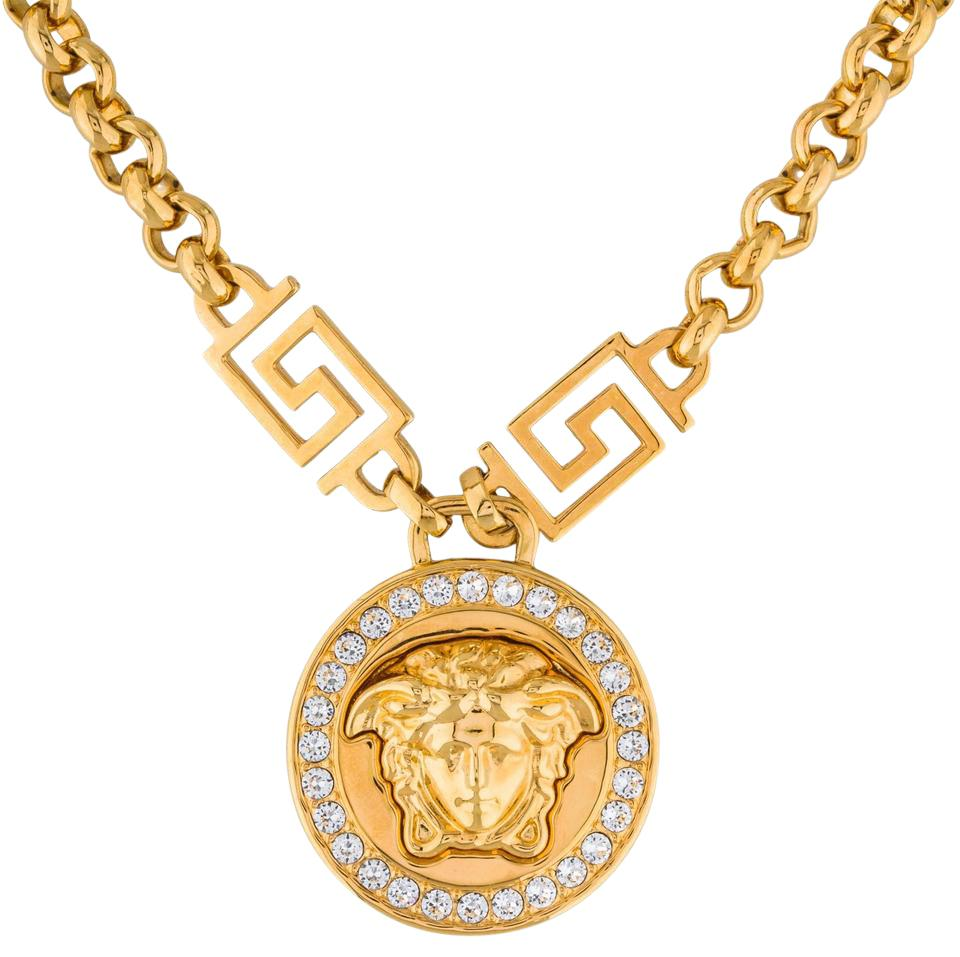 16662ff7a2 Versace Gold Medusa Head Crystal Chain Necklace w Box Image 0 ...