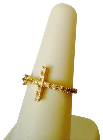 Other Crystal & Gold Tone Cross Ring, Size 7
