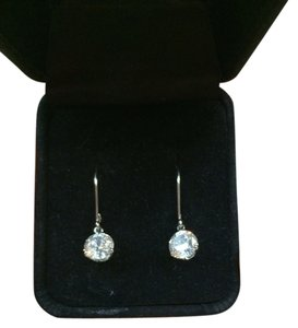 Diamonique 14 K White Gold Leverback Earrings