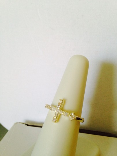 Other Crystal & Silver-Tone Cross Ring, Size 7
