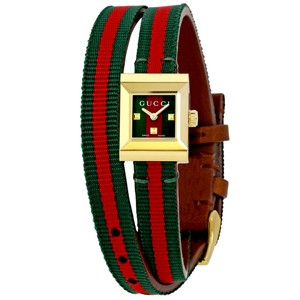 Gucci Gold Tone Stainless Steel Red and Green Canvas Ladies Watch Bracelet