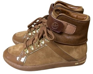 Michael Kors Mk Greenwich Suede Leather Calf Hair Sneakers Flat High Top Sport Sporty Casual Chic Elegant Comfy Comfort Walking Brown Athletic