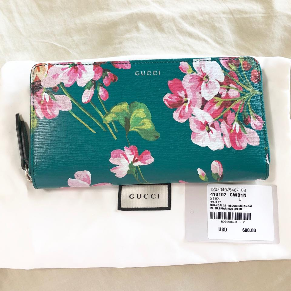 af083331fa6 Gucci Gucci GG Shanghai St Green Teal Bloom Leather Zip Continental Wallet  Image 11. 123456789101112