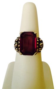 Embellished by Leecia Simulated Amethyst Gemstone, Emerald Cut With Two Tone Silver & Gold Ring, Size 7