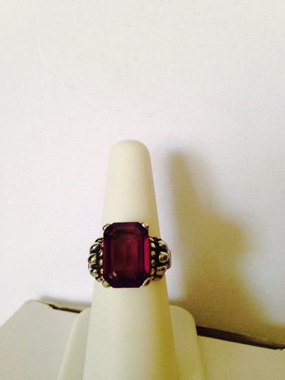 Other Embellished by Leecia Simulated Amethyst Gemstone, Emerald Cut With Two Tone Silver & Gold Ring, Size 7