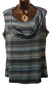 Jennie & Marlis Groovy Chevron Top Turquoise Blue