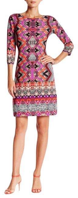 Item - Coral Multi Print Shift Short Casual Dress Size 8 (M)
