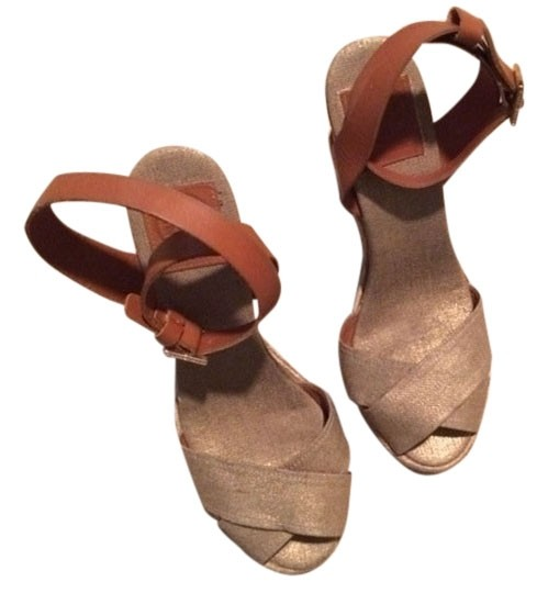 Tory Burch Leather Straps Wedge Natural Heel Gold Linen and luggage Sandals