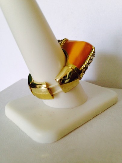 Other Apricot & White Enamel With Crystal Stretchable Ring, Size 7-9
