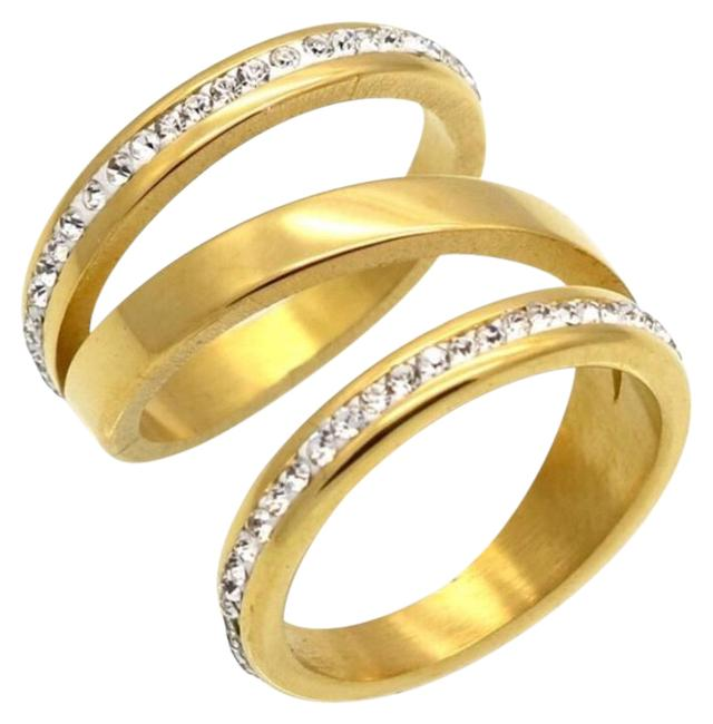 Item - Gold Stainless Steel/ Stainless Steel Ladies Engagement Ring