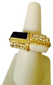 2 Hearts Black & White Enamel With Crystal Stretchable Ring, Size 7-0
